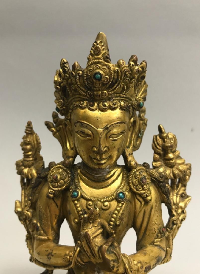 A gilt bronze figure of bodhisattva - 3