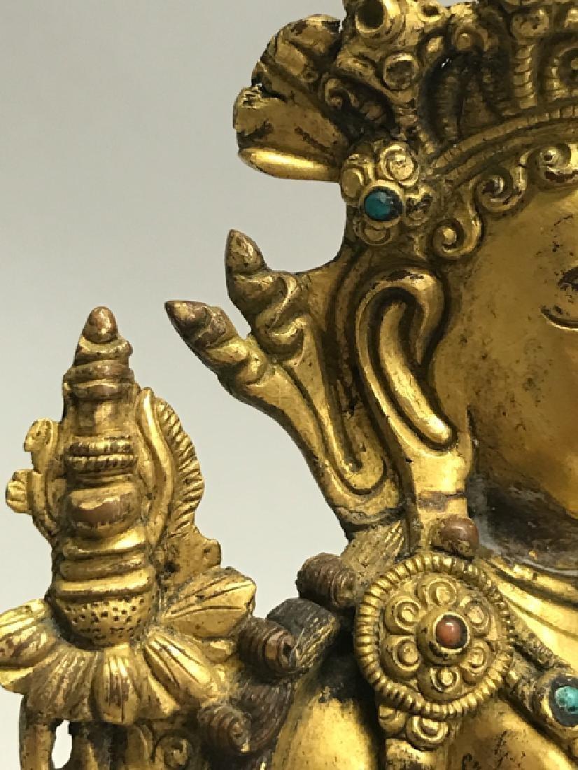 A gilt bronze figure of bodhisattva - 7