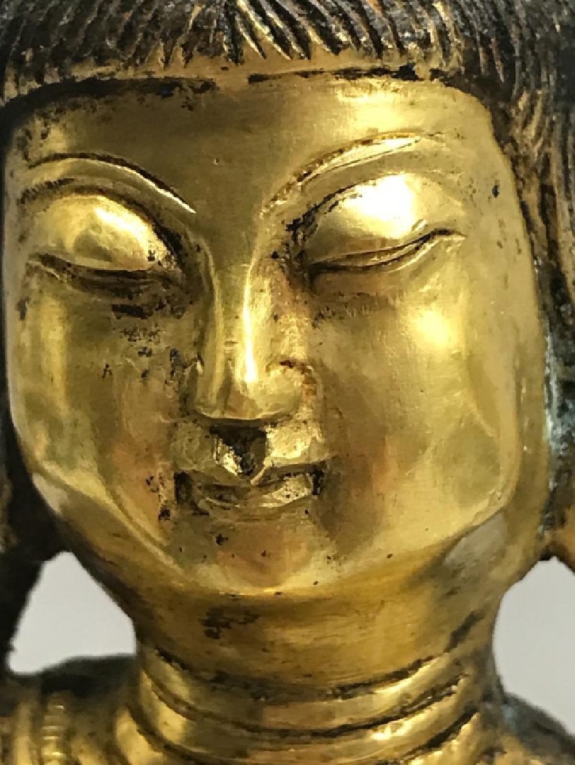 A gilt bronze figure of bodhisattva - 5