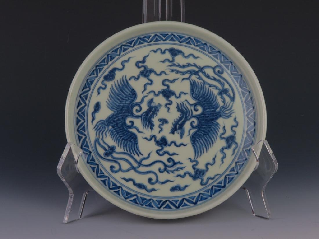 A blue and white plate