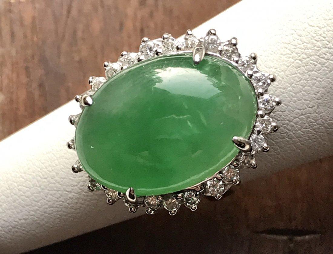 A jadeite and diamon ring