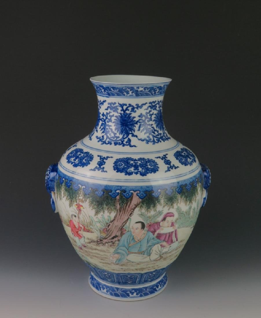 A blue and white and famille-rose vase
