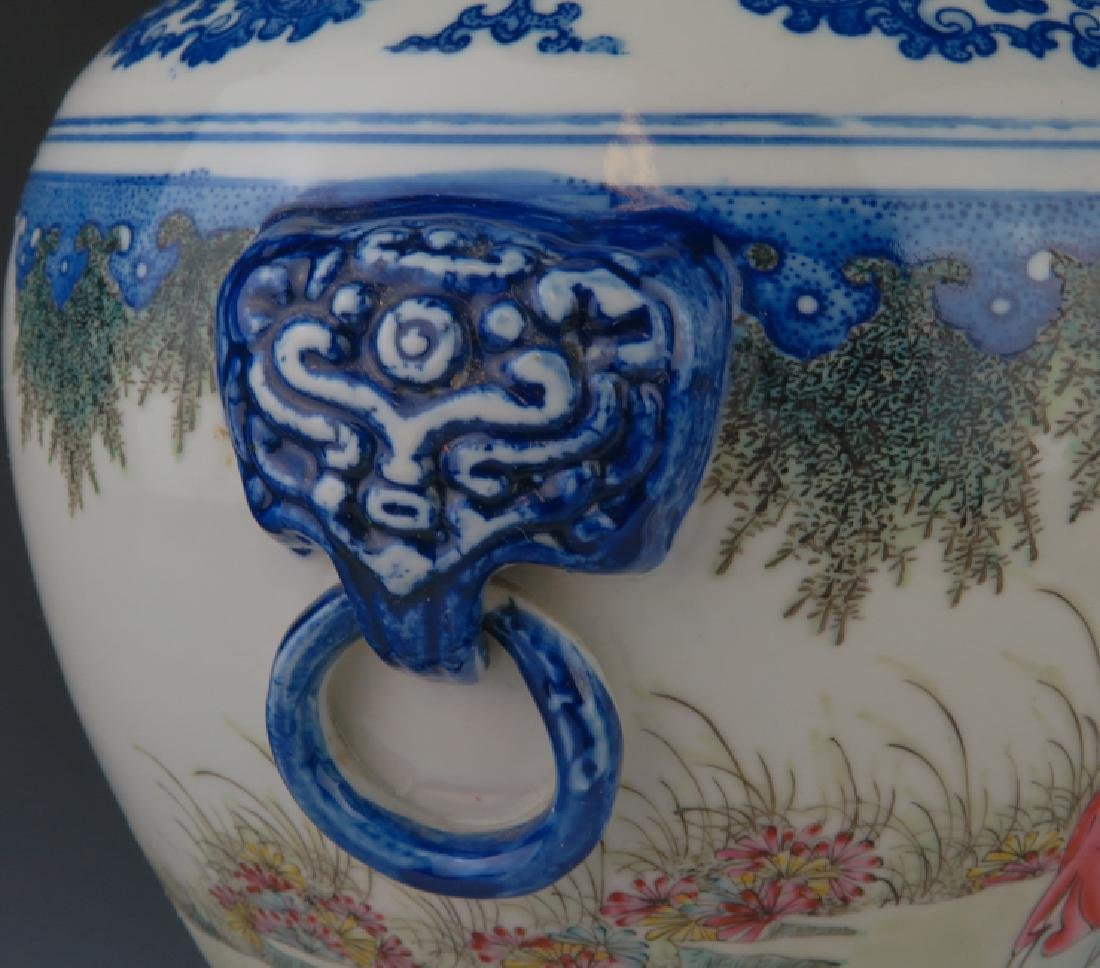 A blue and white and famille-rose vase - 6