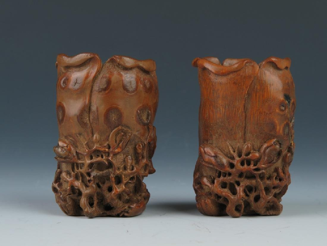 A pair od bamboo carving cups