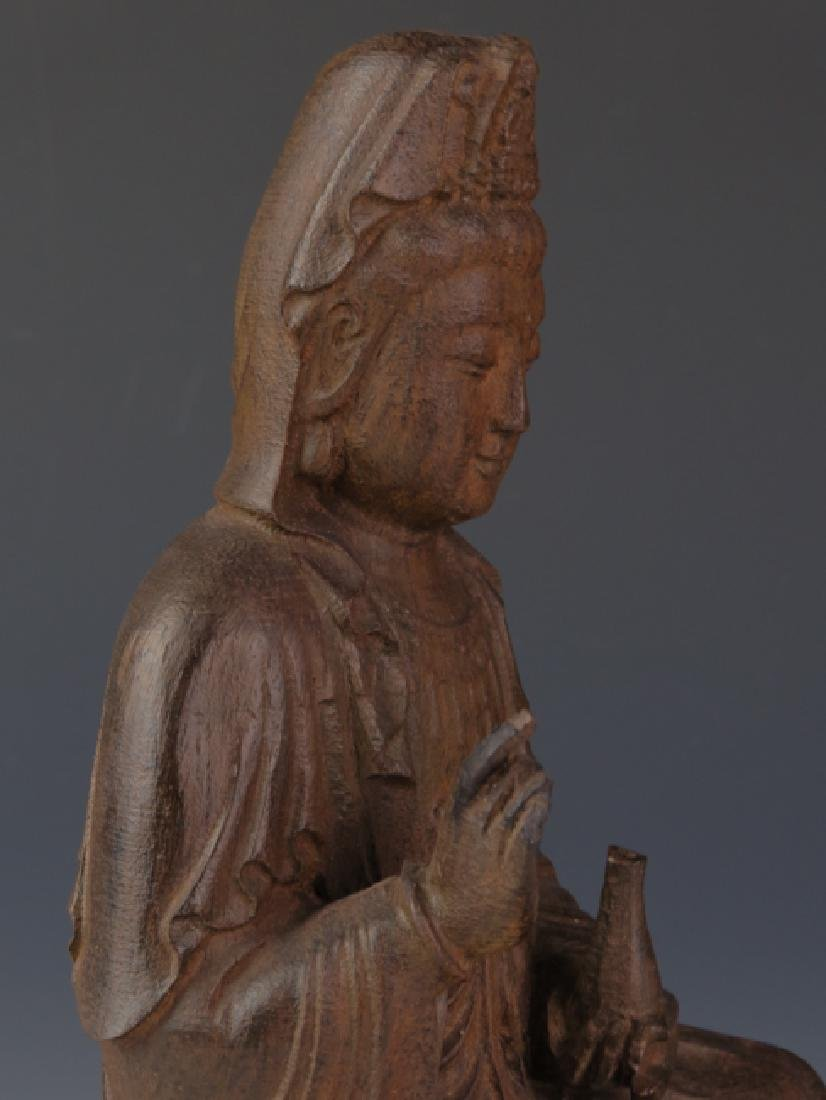 Chicken wing wooden carved seat kuan-yin - 5