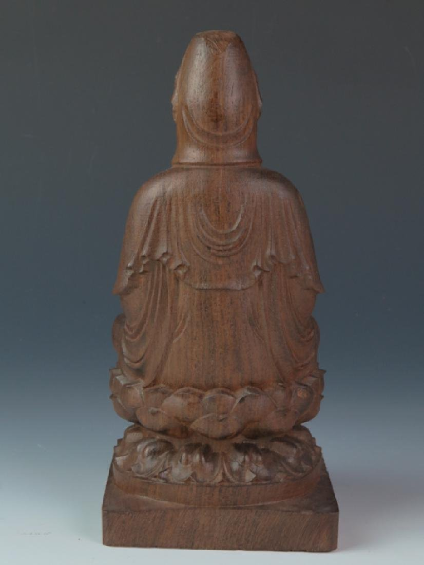 Chicken wing wooden carved seat kuan-yin - 6