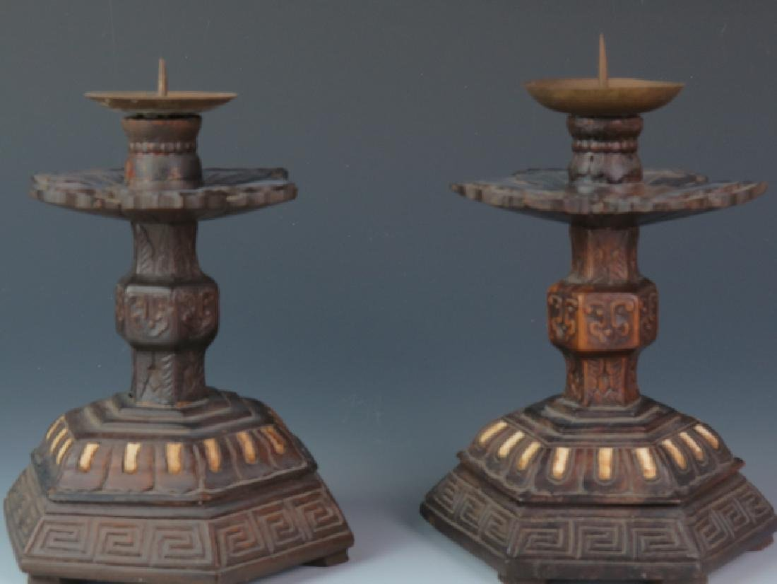 A pair of Wooden carved candle stick - 2