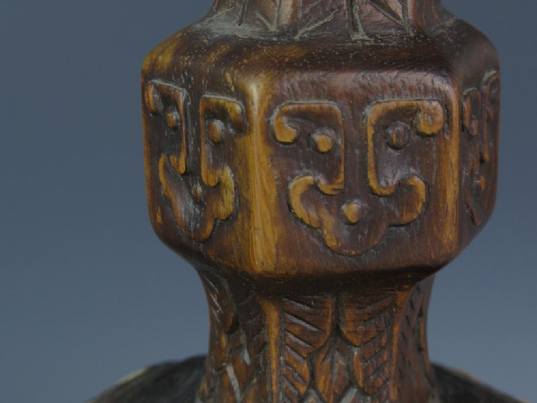 A pair of Wooden carved candle stick - 5
