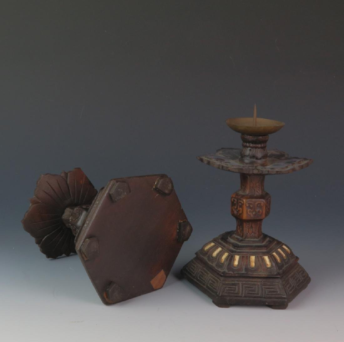 A pair of Wooden carved candle stick - 6