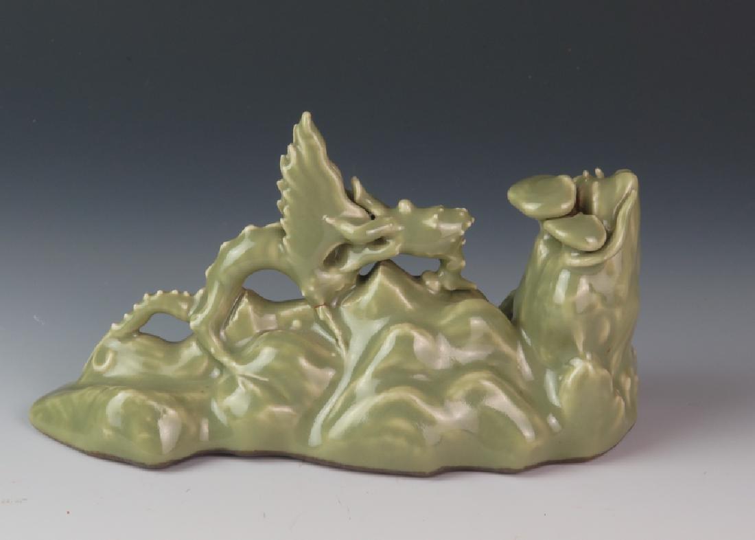 Porcelain celadon brush holder - 3