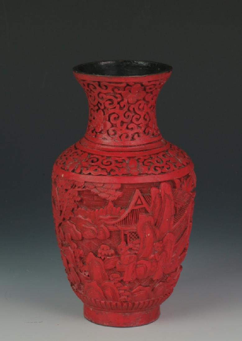 Red lacquer vase