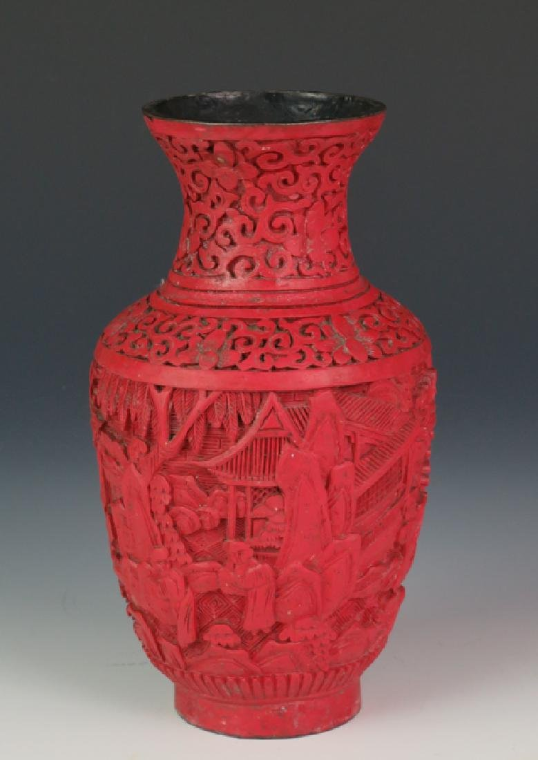 Red lacquer vase - 3