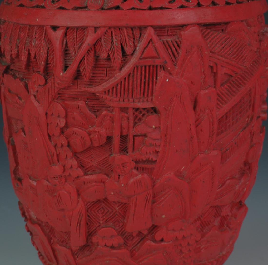 Red lacquer vase - 5