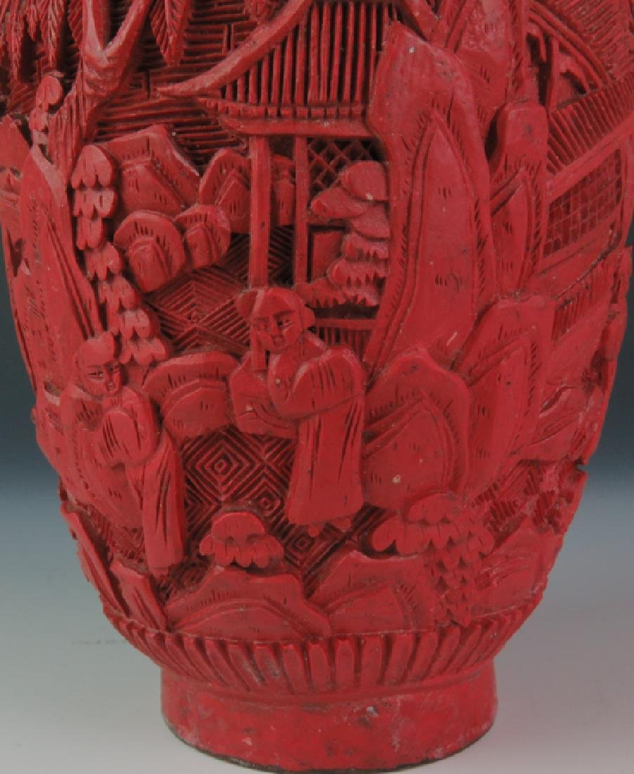 Red lacquer vase - 6