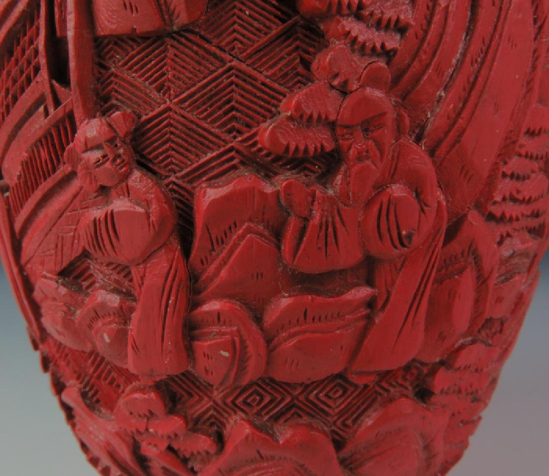 Red lacquer vase - 7
