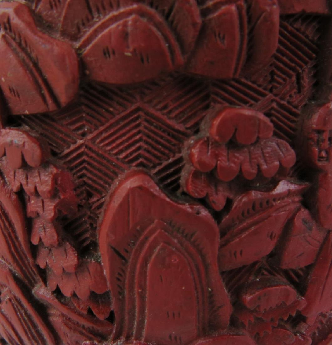 Red lacquer vase - 8
