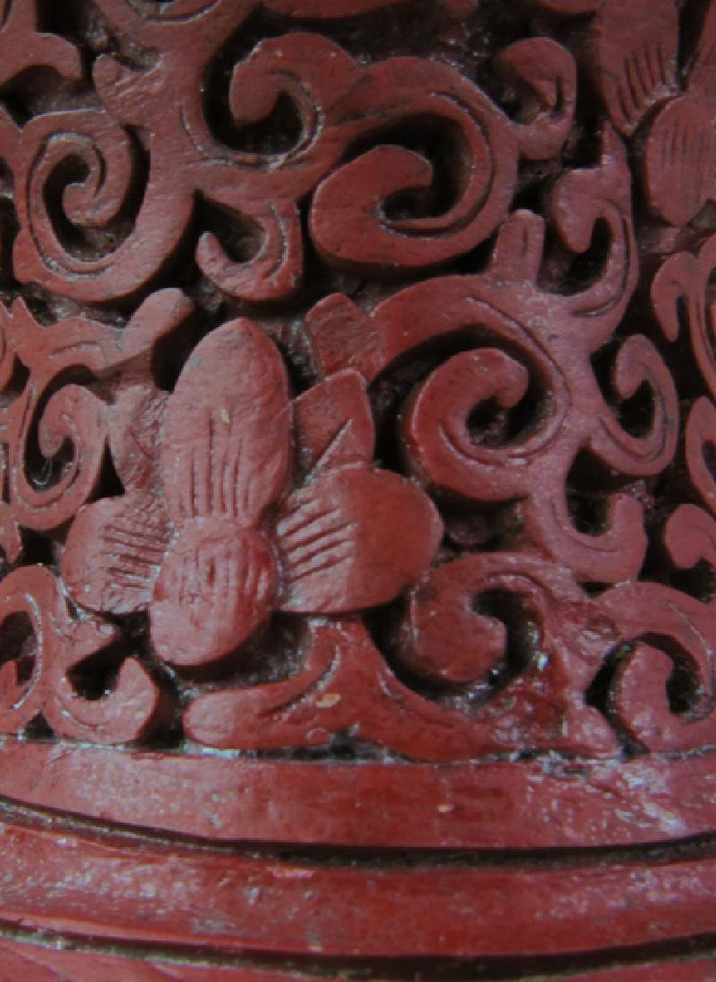 Red lacquer vase - 9