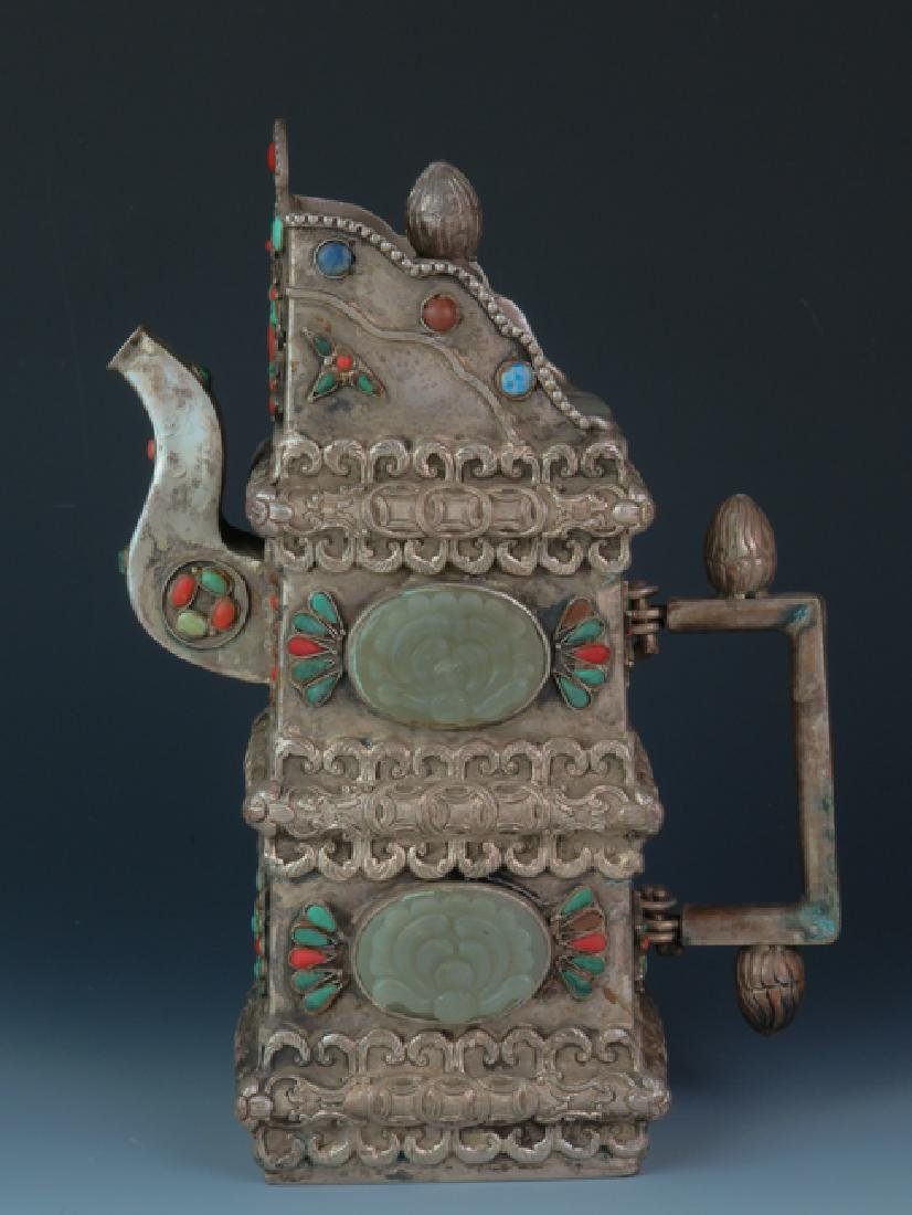 Mongolia square cover wine post decorated with old jade