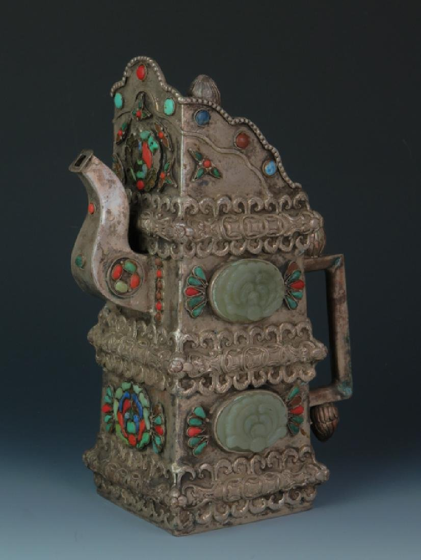 Mongolia square cover wine post decorated with old jade - 2