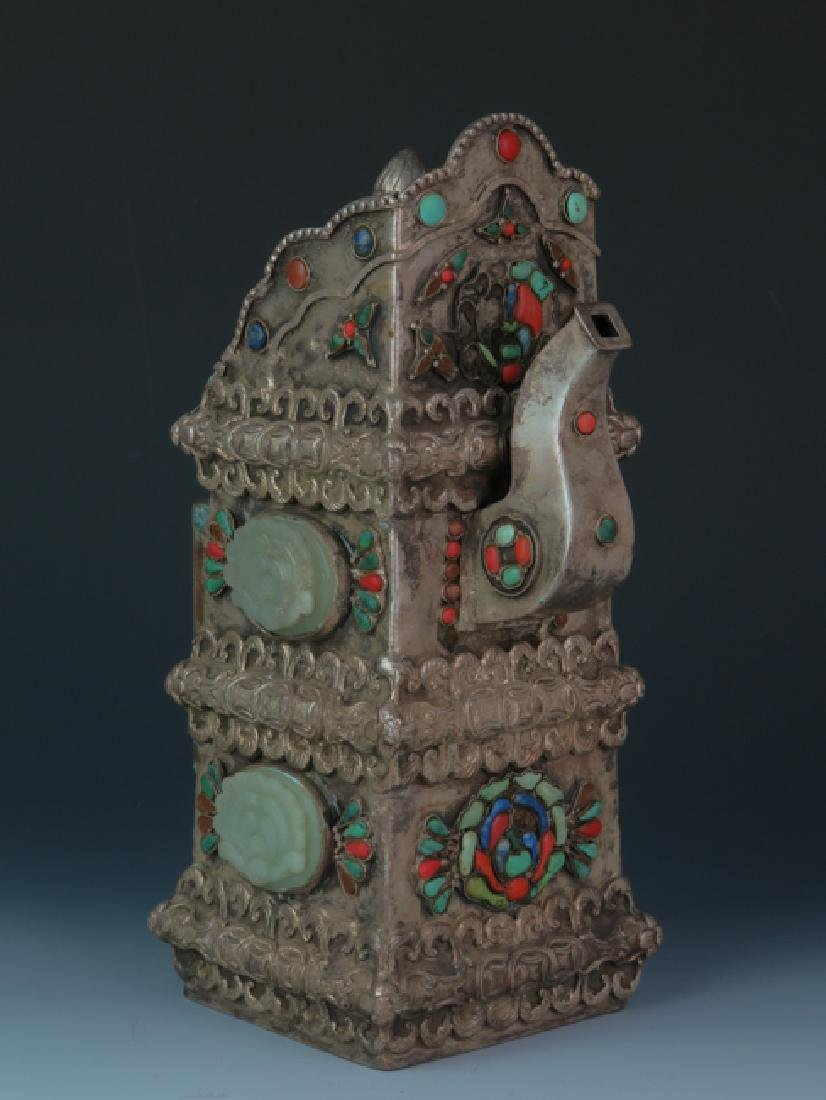 Mongolia square cover wine post decorated with old jade - 3
