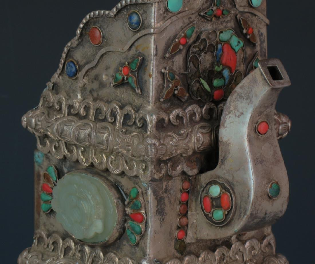 Mongolia square cover wine post decorated with old jade - 4