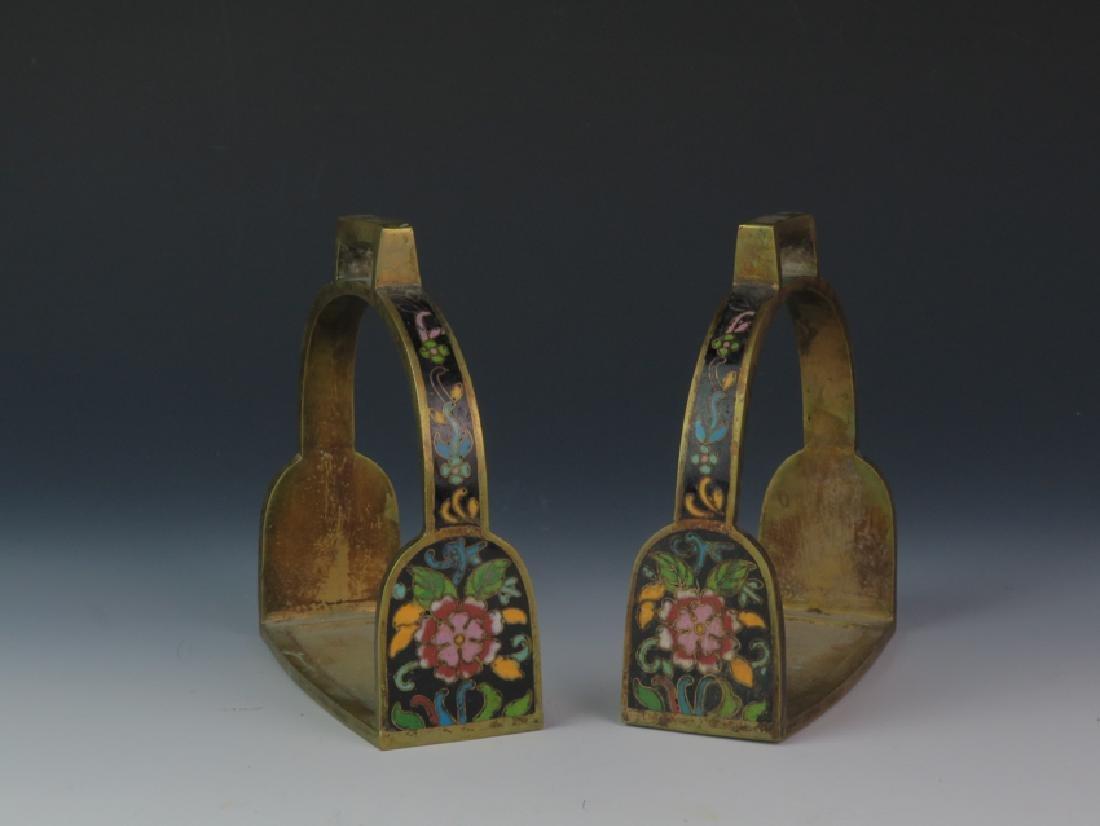A pair of cloisonné saddle