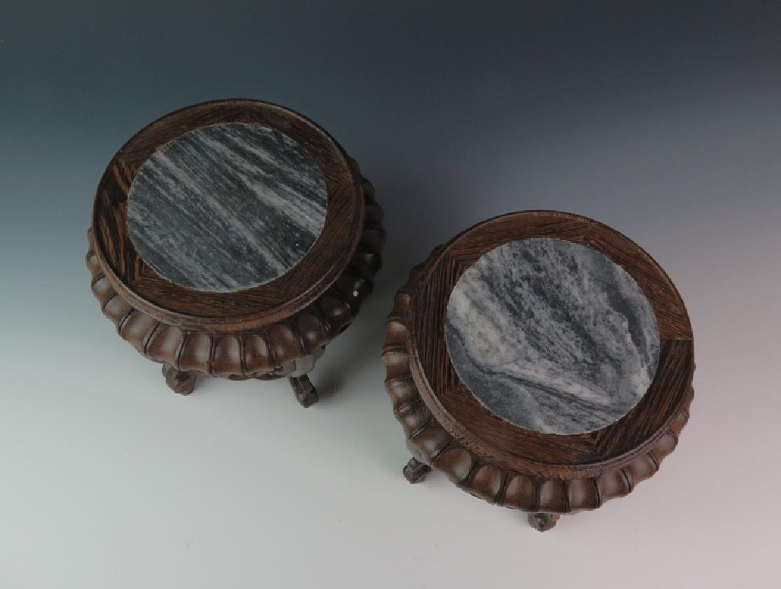 A pair of wooden marble stand - 2