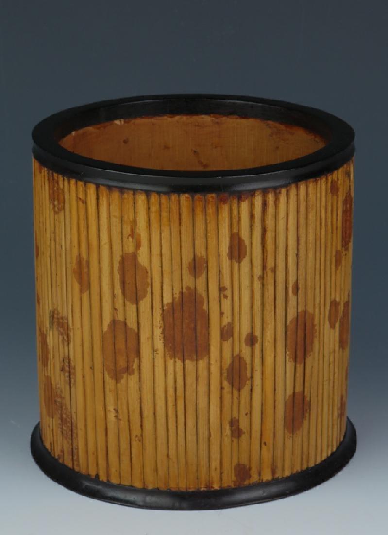 Bamboo-inlaid rosewood brush pot