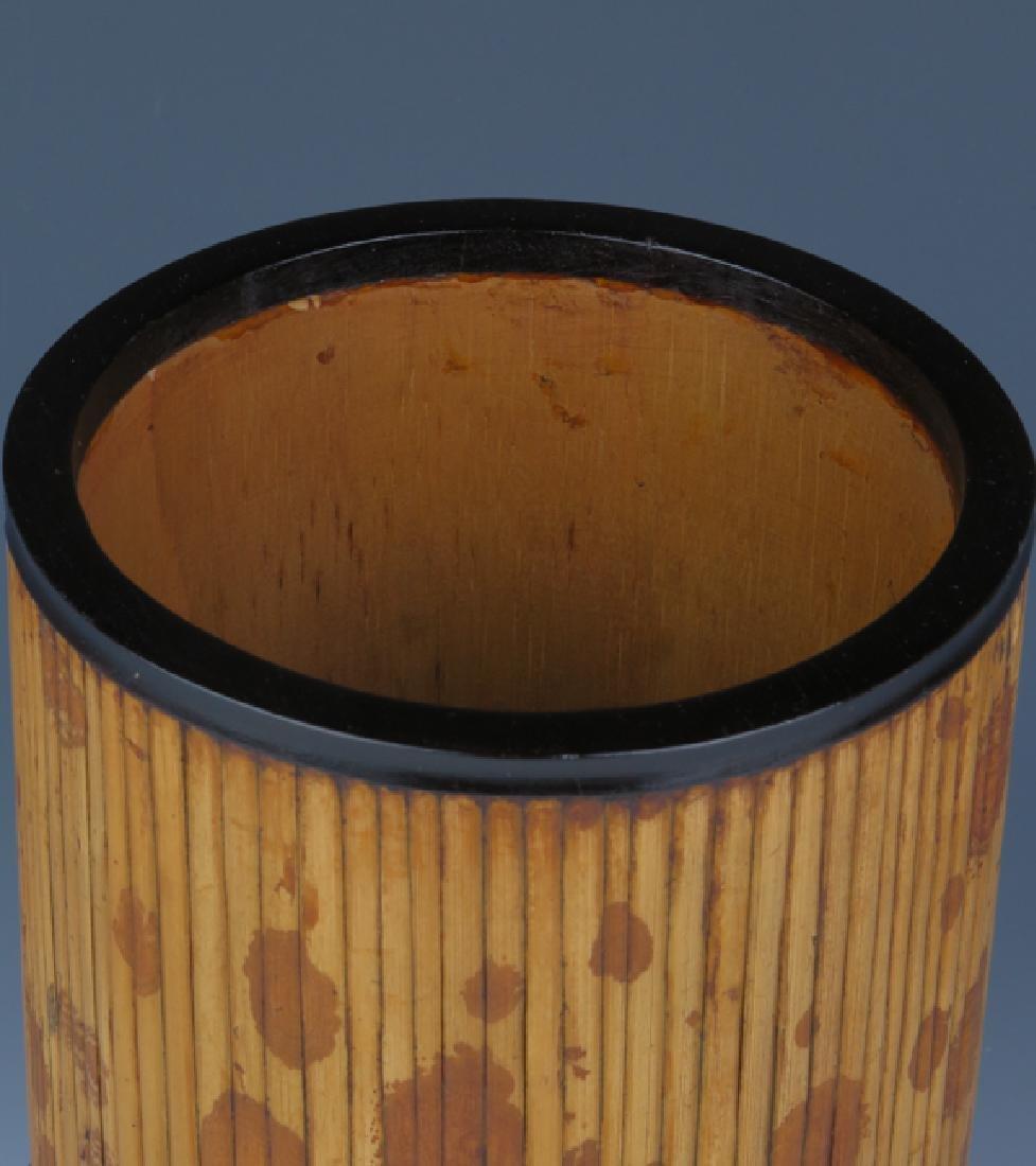 Bamboo-inlaid rosewood brush pot - 2