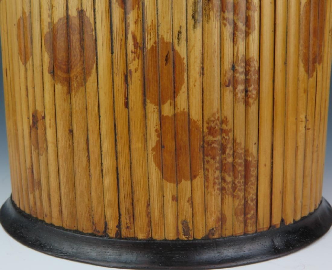 Bamboo-inlaid rosewood brush pot - 3