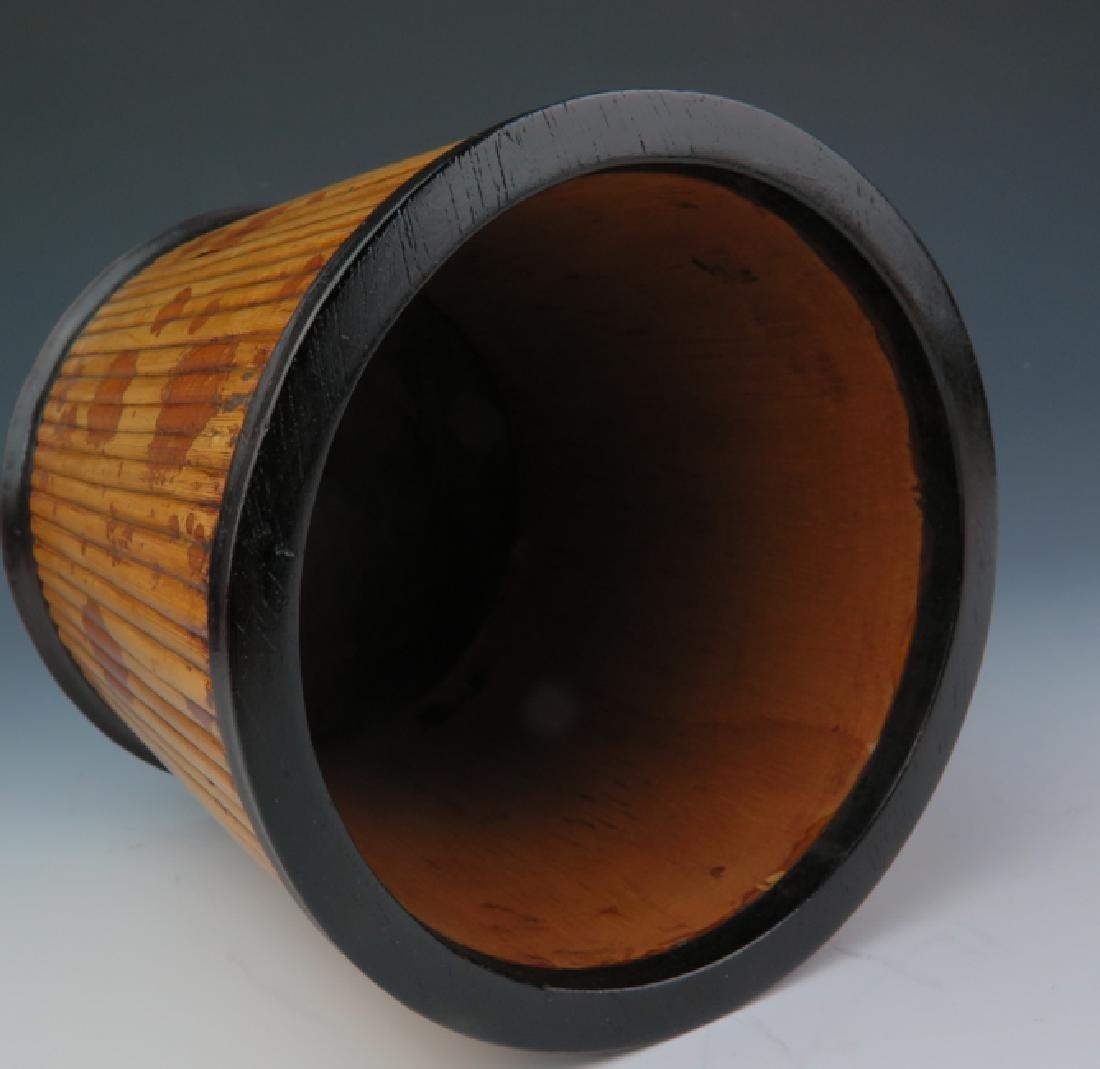 Bamboo-inlaid rosewood brush pot - 4