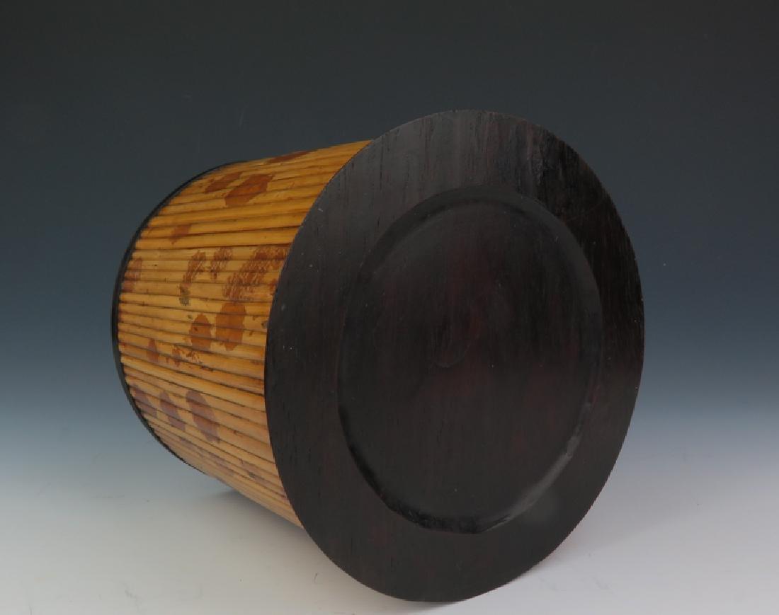 Bamboo-inlaid rosewood brush pot - 5