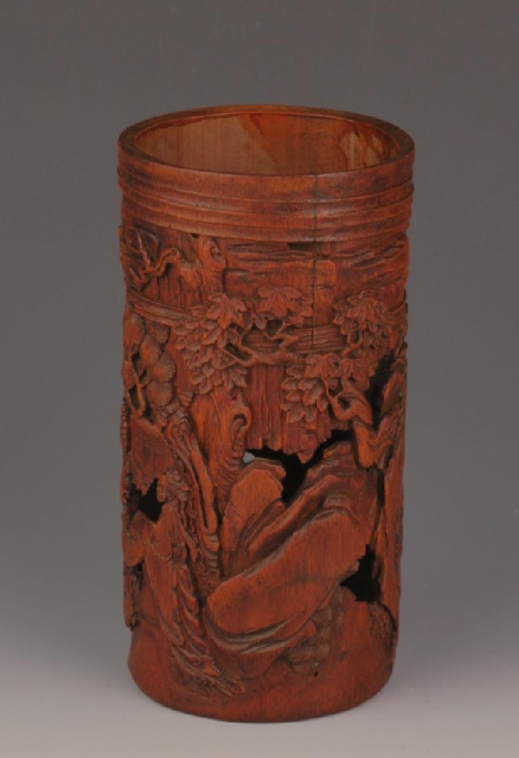 Qing Dynasty bamboo carving brush pot