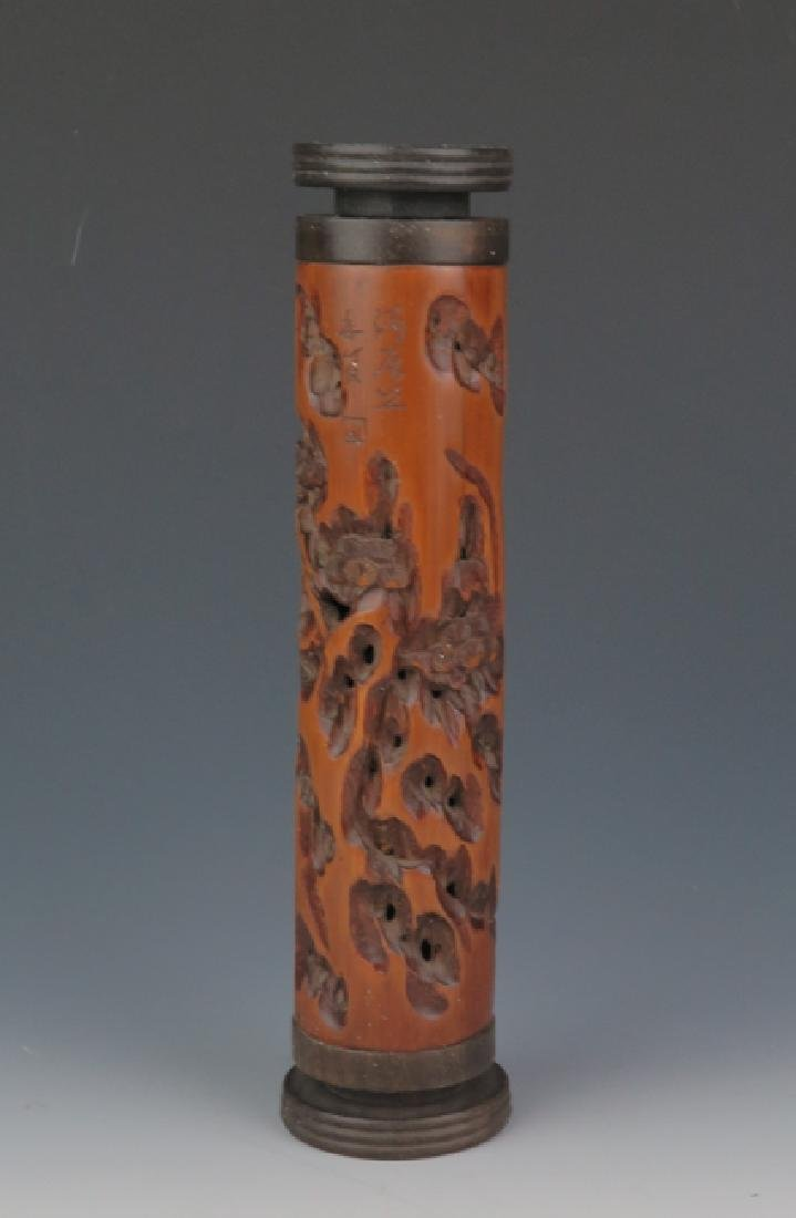 Bamboo carving incense container - 2