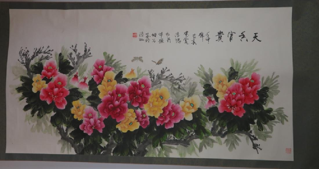 Peony flower hanging scroll