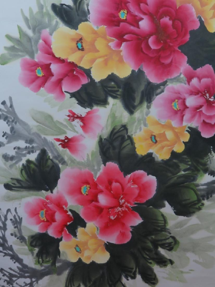Peony flower hanging scroll - 9