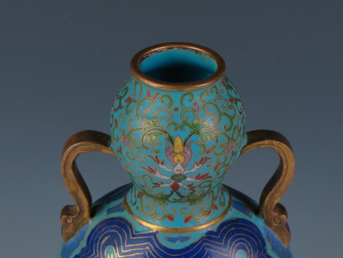 A pair of cloisonné double gourd vases - 3