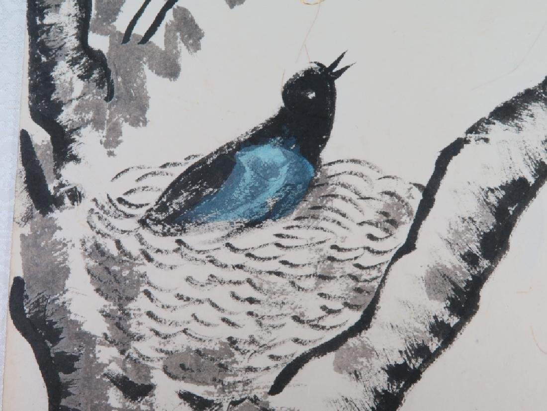 """A color and ink on paper"""" bird"""" painting - 6"""