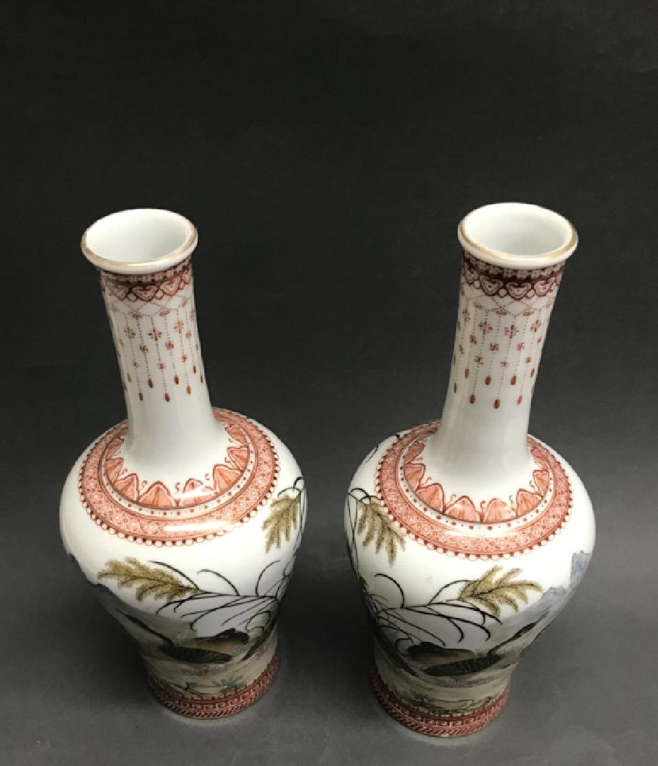Pair of Chinese Famille Rose Vases w Calligraphy,