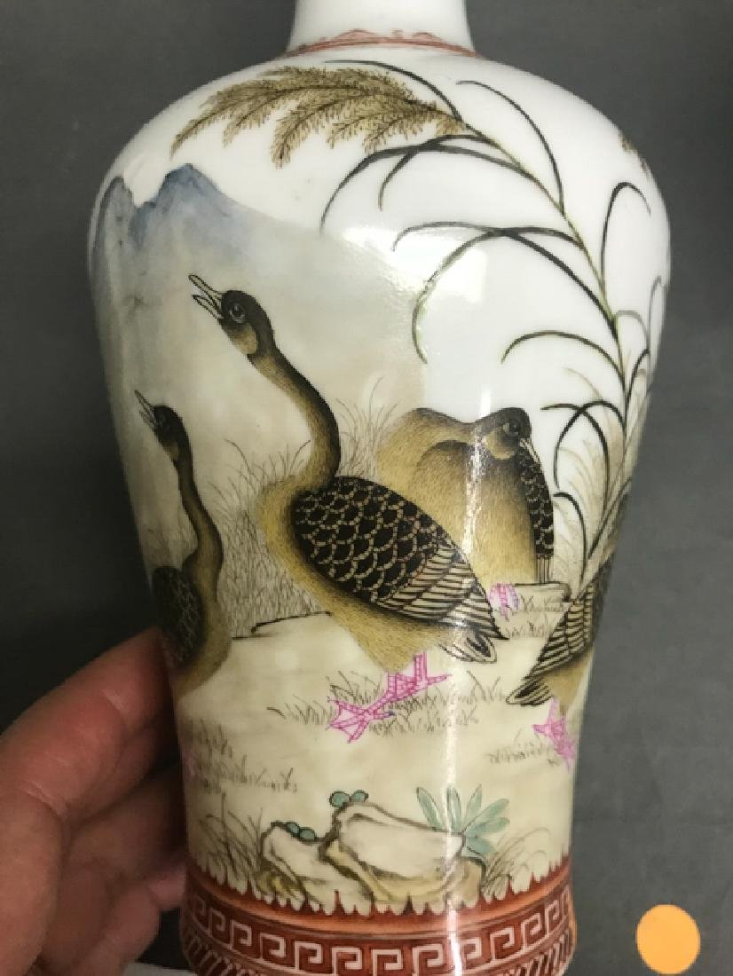 Pair of Chinese Famille Rose Vases w Calligraphy, - 2