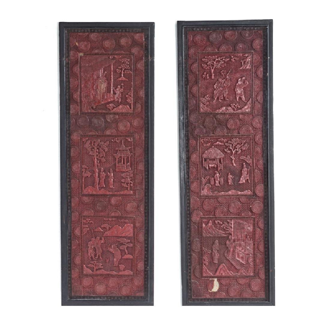 Chinese cinnabar lacquer panels