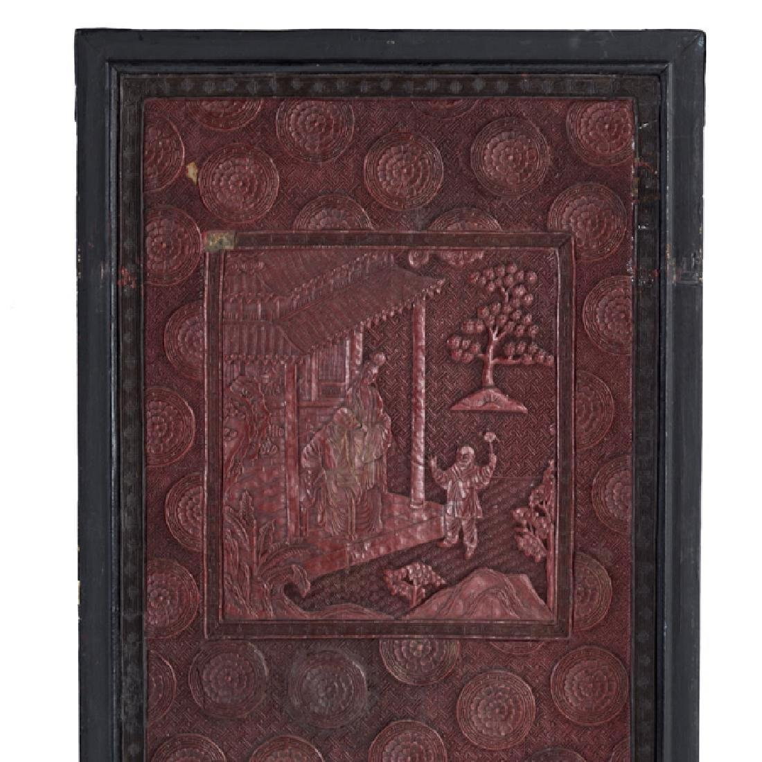 Chinese cinnabar lacquer panels - 5