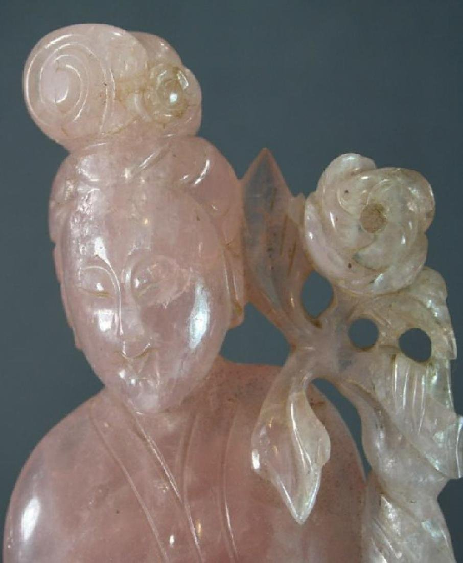 Chinese Rose Quartz Carved Beauty - 5