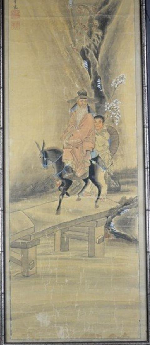 Silk Painting of An Old Man Riding