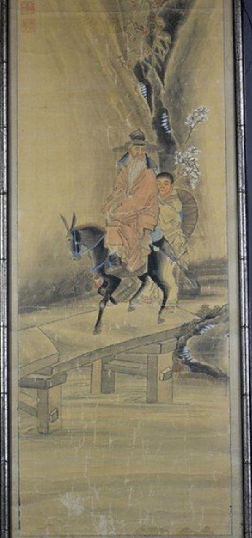 Silk Painting of An Old Man Riding - 2