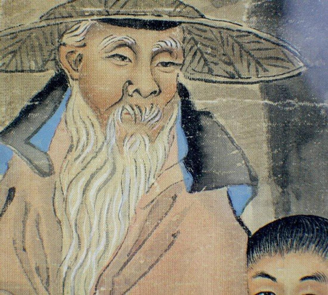 Silk Painting of An Old Man Riding - 3