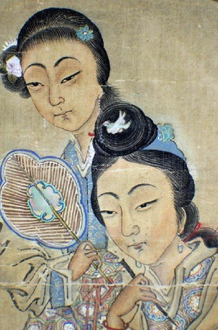 Chinese Painting 2 Ladies by Wu Rong Gun - 5