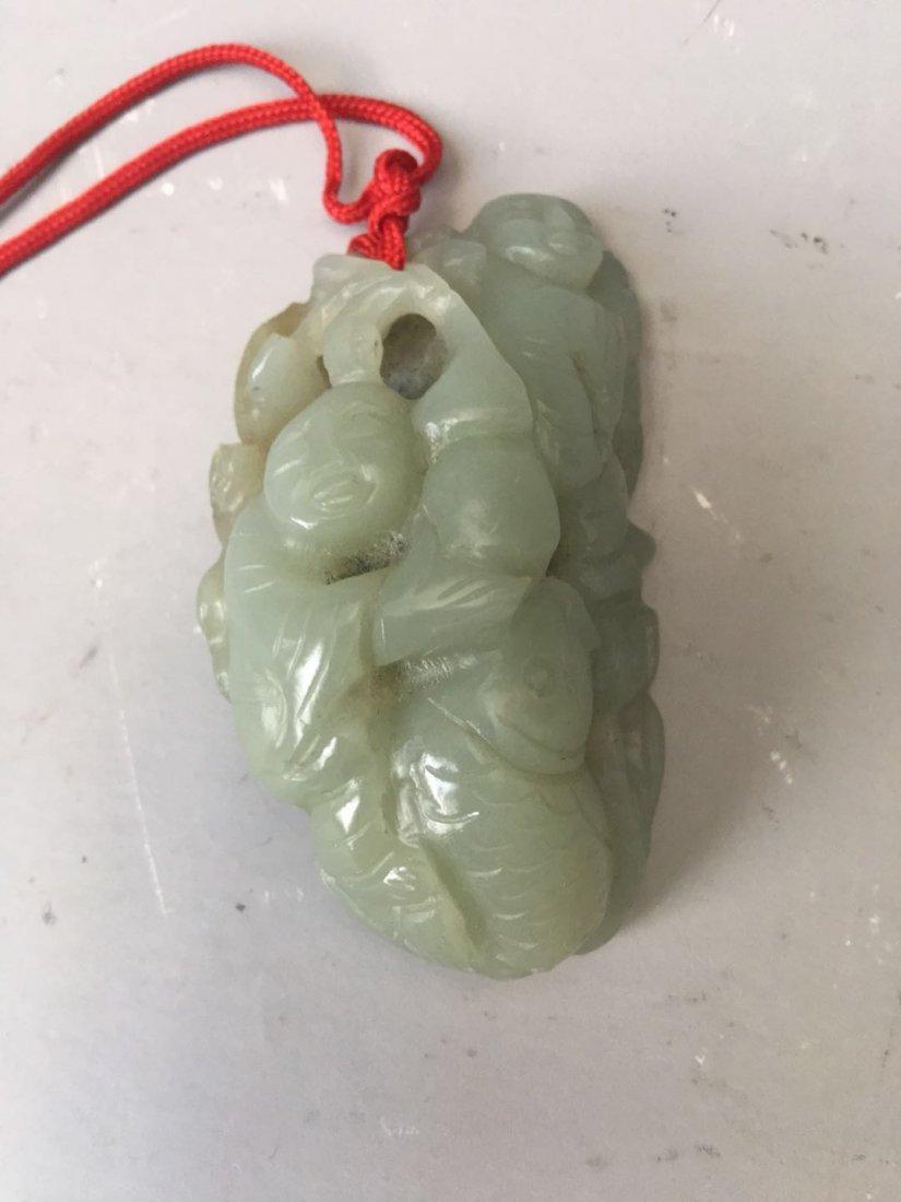 A celadon jade pendant - 3