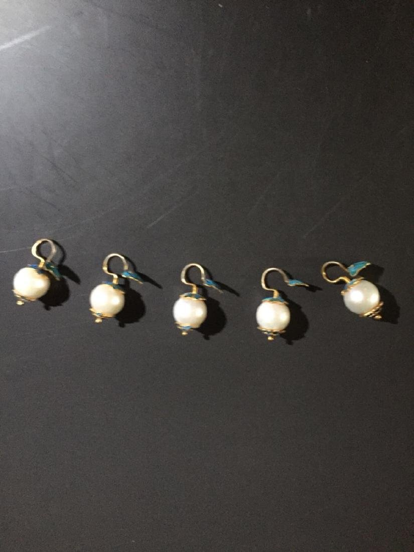 Set of Chinese Pearls and Enamel Buttons