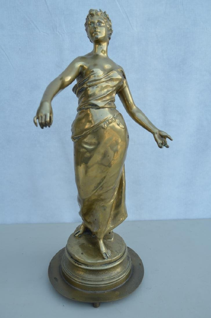 "1910-1930 French Bronze Lady,Signed""Mancel Delut"""